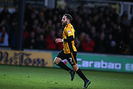 Robbie Willmott of Newport County celebrates after he scores his teams 2nd goal to make it 2-1. EFL Skybet football league two match, Newport county v Exeter City  at Rodney Parade in Newport, South Wales on New Years Day, Monday 1st January 2018.<br /> pic by Andrew Orchard,  Andrew Orchard sports photography.