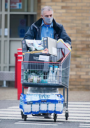 © Licensed to London News Pictures. 02/11/2020. Watford, UK. A shopper pushes a trolly fully of supplies from COSTCO in Watford, Hertfordshire ahead of a second national lockdown. Strict measures are due to be re-introduced later this week in an attempt to fight a second wave of the COVID-19 strain of Coronavirus. Photo credit: Ben Cawthra/LNP