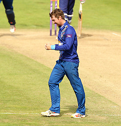 Gloucestershire's Tom Smith celebrates the wicket of Durham's Calum Macleod - Mandatory by-line: Robbie Stephenson/JMP - 07966386802 - 04/08/2015 - SPORT - CRICKET - Bristol,England - County Ground - Gloucestershire v Durham - Royal London One-Day Cup