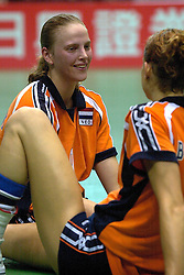 22-06-2000 JAP: OKT Volleybal 2000, Tokyo<br /> Nederland - Korea 3-1 / Chaine Staelens, Erna Brinkman  en Elles Leferink