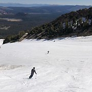 Snowboarding on July 2, 2019 after Mammoth's historic winter. The ski area remained open through July due to the 59 feet of snow the mountain received during the epic winter.