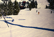 Skiing at Lake Louise ski resort, Banff National Park, Alberta, Rocky Mountains, Canada in 1981 - archive image with imperfections