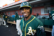 Oakland Athletics center fielder Rajai Davis (11) talks with fans before the MLB preseason game against the San Francisco Giants at AT&T Park in San Francisco, California, on March 30, 2017. (Stan Olszewski/Special to S.F. Examiner)