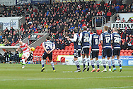 Paul Keegan of Doncaster Rovers takes free kick  during the Sky Bet League 1 match between Doncaster Rovers and Millwall at the Keepmoat Stadium, Doncaster, England on 27 February 2016. Photo by Ian Lyall.