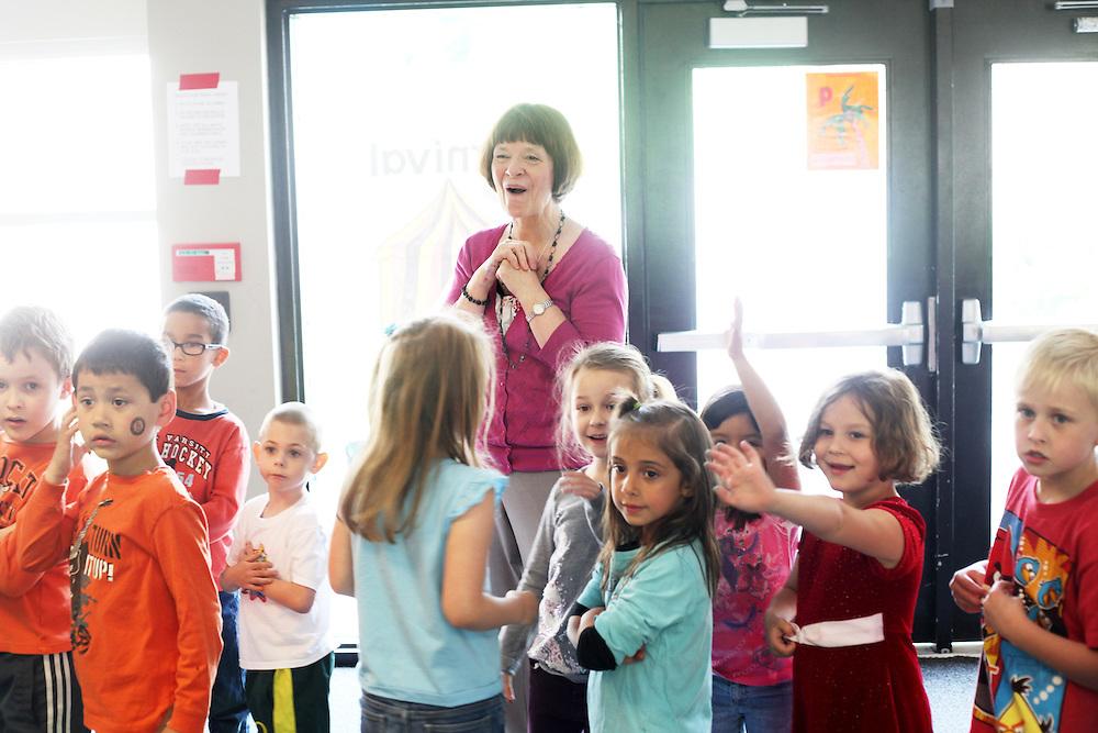 Diane Bonica, longtime kindergarten teacher at Deer Creek Elementary School in Tigard, works with this year's crop of children on Wednesday, May 23, 2012.