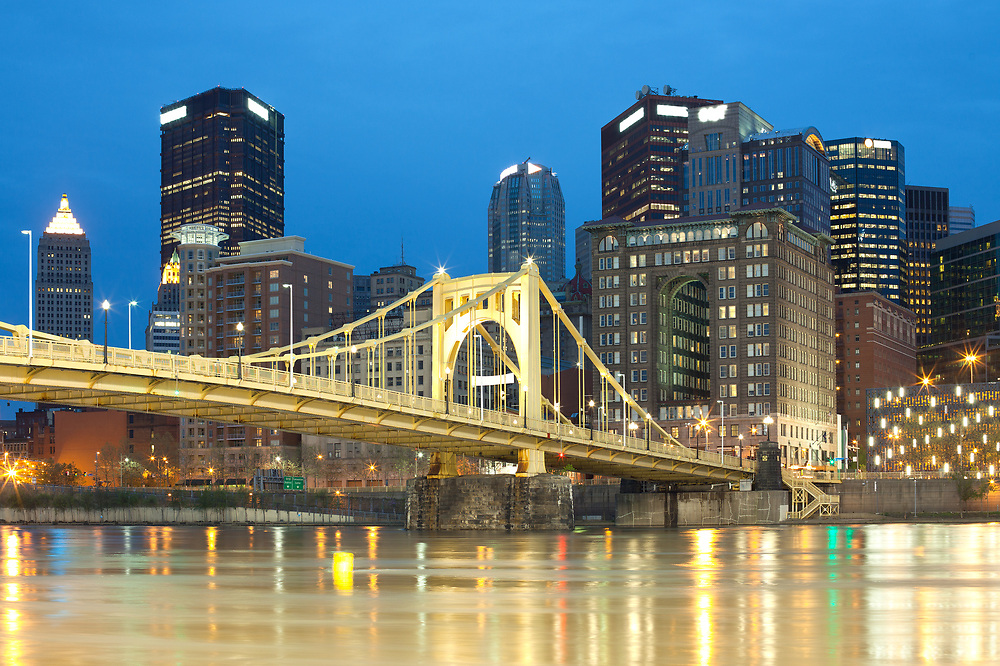 Downtown skyline and Roberto Clemente Bridge over Allegheny River, Pittsburgh, Pennsylvania, United States