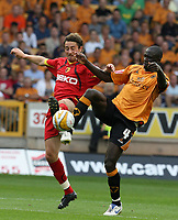 Photo: Paul Greenwood. <br />Wolverhampton Wanderers v Watford. Coca Cola Championship. 11/08/2007. <br />Watford's Tommy Smith, (L) looses out to Wolves Seyi Olofinjana