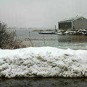 Snow storm, February 2008 in Biddeford Pool, Maine. View of the Yacht Club from Yates Street.