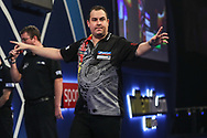 Kim Huybrechts wins the match against Daniel Larsson and celebrates during the World Darts Championships 2018 at Alexandra Palace, London, United Kingdom on 19 December 2018.