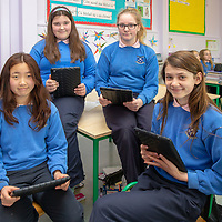 Sarah Loftus, Roksana Pisarczyk, Lucy Qian and Karina Galka working on their Table Quiz Project for the Jessies