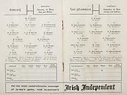 GAA All Ireland Hurling Finals up to 1970,.Brochures, Championship Final,.23.09.1956, 09.23.1956, 23rd September 1956,.Minor Kilkenny v Tipperary, .Senior Cork v Wexford,..Cork, M. Cashman, J. Brohan, J. Lyons, A. O'Shaughnessy (Capt.), M. Fouhy, W. J. Daly, P. Philpott, E. Goulding, P. Dowling, M. O'Regan, J. Hartnett, P. Barry, C. O'Shea, T. Kelly, C. Ring, Subs, G. Murphy, J. Daly, P. Healy, V. Twomey, W. Walsh,..Wexford, A. Foley, R. Rackard, N. O'Donnell, M Morrisson,  J English, W. Rackard, J. Morrissey, S Hearne, E Wheeler, P Kehoe, M Codd, T Flood, T Ryan, N Rackard, T Dixon, M O'Hanlon, P Kehoe, T Bolger, T Morrissey, P Nolan,..Advertisement, Irish Independent, GAA Program