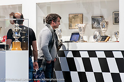 A large area was set up with display cases and film screening as a tribute to the greatest motorcycle racer in Swiss History, Luigi Tavery who was World Champion in the 60's. (b. 1929, d.2018) Swiss-Moto Customizing and Tuning Show. Zurich, Switzerland. Saturday, February 23, 2019. Photography ©2019 Michael Lichter.