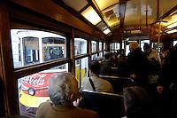03 JAN 2006, LISBON/PORTUGAL:<br /> Waehrend einer Fahrt mit einer der fast historischen Strassenbahnen durch die alten Stadtteile der Stadt Lissabon<br /> During a ride with the old streetcars through the  historical districts of the city of Lisbon<br /> IMAGE: 20060103-01-003<br /> KEYWORDS: Lisboa, Reise, travel, Europa, europe, Strassenbahn, Straßenbahn, Fahrer, driver, Nahverkehr, Bahn, Passagier, passenger, streetcar, tram, tramline
