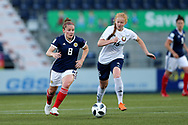 Kim Little (#8) of Scotland on the ball pursued by Ksenia Kubichnaya (#16) of Belarus during the FIFA Women's World Cup UEFA Qualifier match between Scotland Women and Belarus Women at Falkirk Stadium, Falkirk, Scotland on 7 June 2018. Picture by Craig Doyle.