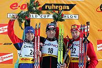 Biathlon, 09. december 2004, World Cup, Oslo, Ole Einar Bjørndalen , Norway, Sven Fischer, Germany og  Tomaz Sikora, Poland