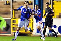Football<br /> Carlisle United v Oldham Athletic, Carling Cup Round One, Brunton Park.  Scott Dobie (Carlisle United) after scoring the only goal of the game.<br /> 11/08/2009. Credit Colorsport / Darren Blackman