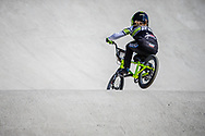 #28 (DOUDOUX Mathilde) FRA during practice of Round 3 at the 2018 UCI BMX Superscross World Cup in Papendal, The Netherlands