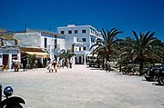 People strolling in the street, island of Ibiza, Balearic Islands, Spain, 1950s