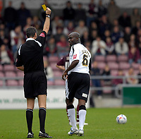 Photo: Daniel Hambury.<br />Northampton Town v Swansea City. Coca Cola League 1. 28/10/2006.<br />Swansea's Izzy Iriekpen is booked.