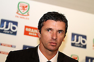 Gary Speed is announced as the new Wales national team football manager at press conference at the Vale hotel resort in Hensol, near Cardiff on Tuesday 14th December 2010. pic by Andrew Orchard, Andrew Orchard sports photography,