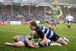 Juan Pablo Socino of Newcastle Falcons touches the ball down behind his own try-line - Mandatory byline: Patrick Khachfe/JMP - 07966 386802 - 27/01/2018 - RUGBY UNION - The Recreation Ground - Bath, England - Bath Rugby v Newcastle Falcons - Anglo-Welsh Cup
