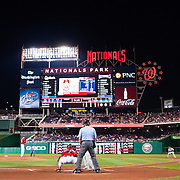 View from immediately behind home plate of the Washington Nationals vs the St Louis Cardinals. The Cardinals won 4-2.