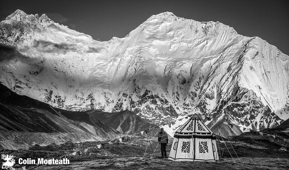 Kangshung face, Chomolungma, Mt Everest ( right) South Col in centre and Lhotse to left, tent camp, Pethang ringmo, Tibet