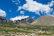 Hikers on the Longs Peak trail in Rocky Mountain National Park, Colorado.