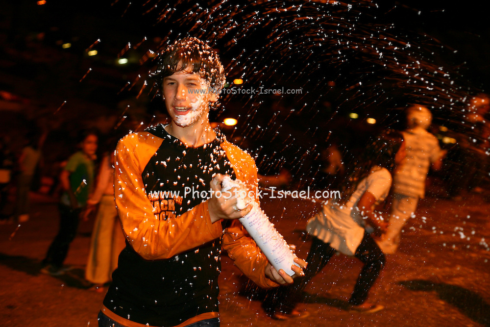 Israeli youth are celebrating the 60th Independence anniversary of Israel. Spraying foam on each other is, for some reason, a popular event On May 7, 2008