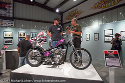 Custom builder Justin McNeely speaking about his Shovelhead on display at the Old Iron - Young Blood exhibition media and industry reception in the Motorcycles as Art gallery at the Buffalo Chip during the annual Sturgis Black Hills Motorcycle Rally. Sturgis, SD. USA. Sunday August 6, 2017. Photography ©2017 Michael Lichter.