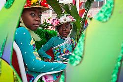 (L-R Deanica blyden and Kayja Lake of St. Thomas Majorettes.  Childrens' Parade.  Carnival 2013.  Main Street St. Thomas.  © Aisha-Zakiya Boyd