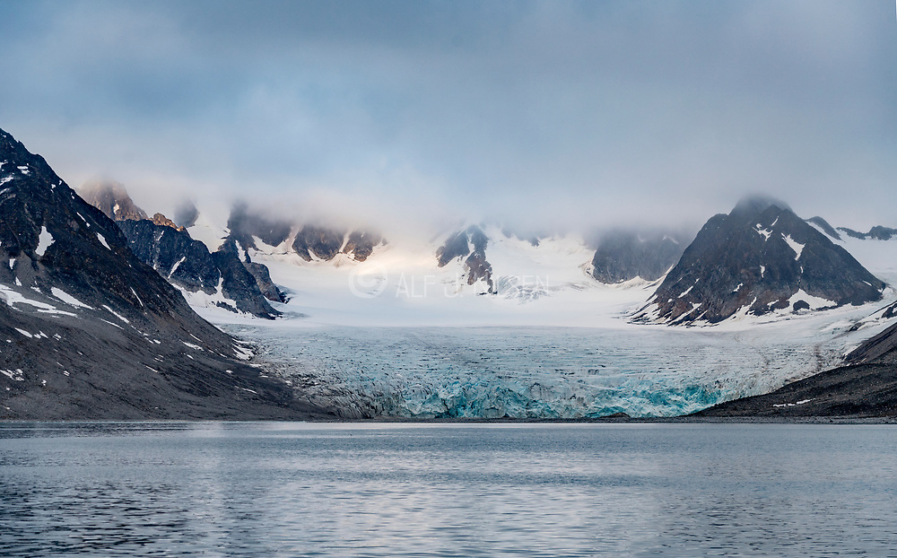 The Waggonway Glacier that debouches into magdalenefjorden, Spitsbergen, Svalbard, Norway.  Photo from August 2019.