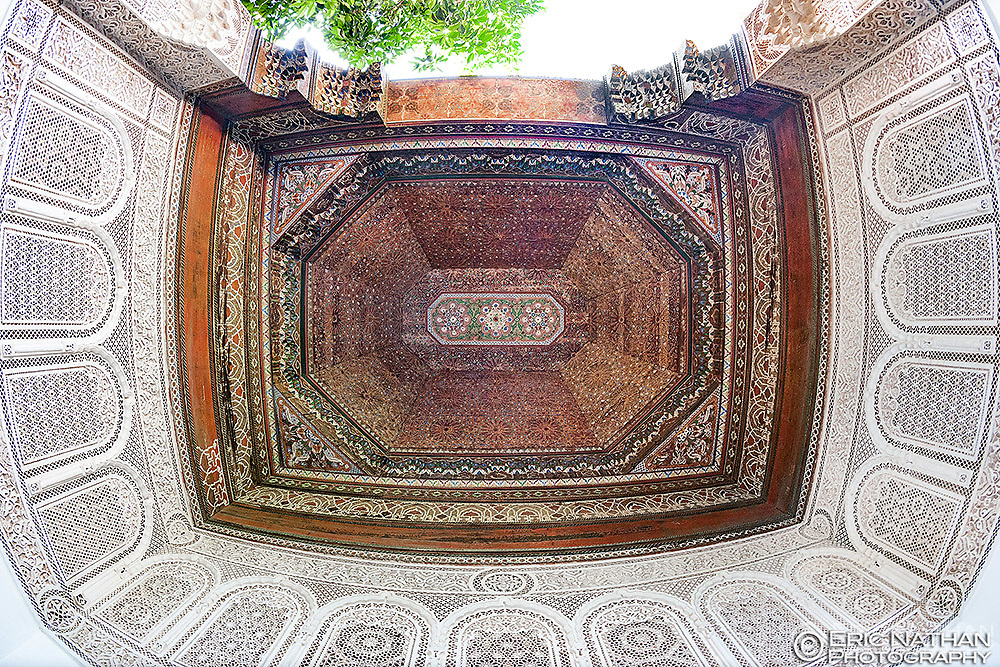 Detail of the ceiling in an alcove of the Bahia Palace in Marrakech, Morocco.