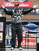 ATLANTA, GA:  Hall of Famer and Beacon Award Recipient Ernie Banks acknowledges the crowd during a pre-game ceremony before the MLB Civil Rights Game between the Philadelphia Phillies and the Atlanta Braves on Sunday, May 15, 2011 at Turner Field in Atlanta, Georgia.  (Photo by Mike Zarrilli/MLB Photos via Getty Images)