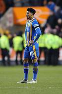 Shrewsbury Town's Josh Laurent is disappointed after losing a 2-0 lead during the The FA Cup fourth round match between Shrewsbury Town and Wolverhampton Wanderers at Greenhous Meadow, Shrewsbury, England on 26 January 2019.