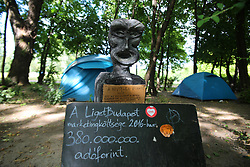 June 17, 2017 - Budapest, Central Hungary, Hungary - Protest camp against the plans to build museums at Városliget, the Budapest city park. The environmental activists want to save the oldest and biggest park of Budapest. (Credit Image: © Alexander Pohl/Pacific Press via ZUMA Wire)