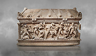 Roman relief sculpted Herakles (Hercules)  sarcophagus, 2nd century AD, Perge, inv 1,11,81-1.3.99-2.3.99.. Antalya Archaeology Museum, Turkey.<br /> <br /> If you prefer to buy from our ALAMY STOCK LIBRARY page at https://www.alamy.com/portfolio/paul-williams-funkystock/greco-roman-sculptures.html . Type -    Antalya    - into LOWER SEARCH WITHIN GALLERY box - Refine search by adding a subject, place, background colour, etc.<br /> <br /> Visit our ROMAN WORLD PHOTO COLLECTIONS for more photos to download or buy as wall art prints https://funkystock.photoshelter.com/gallery-collection/The-Romans-Art-Artefacts-Antiquities-Historic-Sites-Pictures-Images/C0000r2uLJJo9_s0