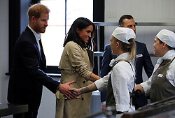 The Duke and Duchess of Sussex visit the Mission Australia social enterprise restaurant Charcoal Lane in Melbourne, on the third day of the royal couple's visit to Australia.