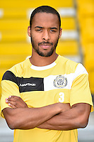 20150626 - LOKEREN, BELGIUM: Lokeren's Dennis Odoi pictured during the 2015-2016 season photo shoot of Belgian first league soccer team Sporting Lokeren, Friday 26 June 2015 in Lokeren. BELGA PHOTO LUC CLAESSEN