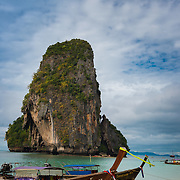 Phra Nang beach rock and boats in Krabi, Thailand