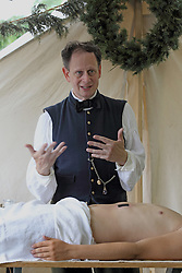 21 July 2013:   Dr. Benjamin Lyford portrayed by Jon Austin at the 10th Illinois Volunteer Calvary Regiment encampment of Civil War Days at Ames Library on the campus of Illinois Wesleyan University.
