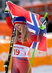 PYEONGCHANG-GUN, SOUTH KOREA - FEBRUARY 21: Silver medalist Ragnhild Mowinckel of Norway  during the venue victory ceremony following the Ladies Downhill at Jeongseon Alpine Centre on February 21, 2018 in Pyeongchang-gun, South Korea. Photo by Ronald Hoogendoorn / Sportida