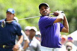 May 3, 2019 - Charlotte, NC, U.S. - CHARLOTTE, NC - MAY 03: Harold Varner lll plays his shot from the ninth tee in round two of the Wells Fargo Championship on May 03, 2019 at Quail Hollow Club in Charlotte,NC. (Photo by Dannie Walls/Icon Sportswire) (Credit Image: © Dannie Walls/Icon SMI via ZUMA Press)
