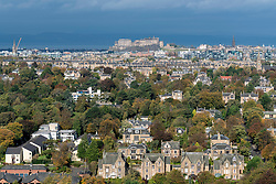View of Edinburgh Castle and the city from Blackford Hill in Edinburgh, Scotland, United Kingdom.