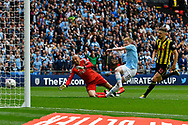 Goal - Kevin De Bruyne (17) of Manchester City scores a goal to give a 3-0 lead during the The FA Cup Final match between Manchester City and Watford at Wembley Stadium, London, England on 18 May 2019.