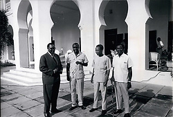 Jul. 07, 1966 - Meeting of East and Central African leaders at the State House in Dar -es- Salam, Tanzania - to discus the effects of the Rhodesia crisis, and economic cooperation of the interested other African countries, also Zambia's threat to withdraw from the Commonwealth. The leaders are also going to consider a joint action on the withdrawal from the Commonwealth. At the State House just before the talks started are from left: Joseph Murumbi, Vice President of Kenya, - President of Kenneth Kaunda of Zambia, - President Julius Nyerere of Tanzania President Milton Obote of Uganda. (Credit Image: © Keystone Press Agency/Keystone USA via ZUMAPRESS.com)