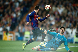March 2, 2019 - Madrid, MADRID, SPAIN - Lionel (Leo) Messi of FC Barcelona and Thibaut Courtois of Real Madrid during the spanish league, La Liga, football match played between Real Madrid and FC Barcelona at Santiago Bernabeu Stadium in Madrid, Spain, on March 02, 2019. (Credit Image: © AFP7 via ZUMA Wire)