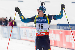 FERRY Bjoern of Sweden celebrates at finish line during Men 12.5 km Mass Start competition of the e.on IBU Biathlon World Cup on Sunday, March 9, 2014 in Pokljuka, Slovenia. Photo by Vid Ponikvar / Sportida