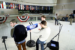 Staffers prepare ahead of former Vice President Joe Biden to deliver remarks at the National Constitution Center in Philadelphia, PA on March 10, 2020. Biden canceled an earlier scheduled campaign event in Cleveland, OH due to health concerns regarding COVID-19 Coronavirus at large gatherings.