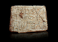 Hittite Hieroglyphic panel from a cult chamber 2 built by Suppiiuliuma II in Hattusa, Hittite New Kingdom 1207–1178 BC, Bogazkale archaeological Museum, Turkey. Black background<br /> <br /> The Luwian hieroglyphics is a kind of hieratic script which was developed in Anatolia and has no relationship to Egyptian hieroglyphics. In these panels King Suppiluliuma II mentions that by the support of many gods he has conquered many countries including the Land of Tarhuntassa, where he has built new cities and has offered sacrifices to the gods. The chamber may have been a symbolic entrance to the underworld which plays an important part in Hittite cult and beliefs